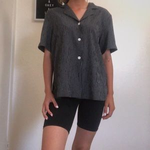 Black and white thrifted graham blouse